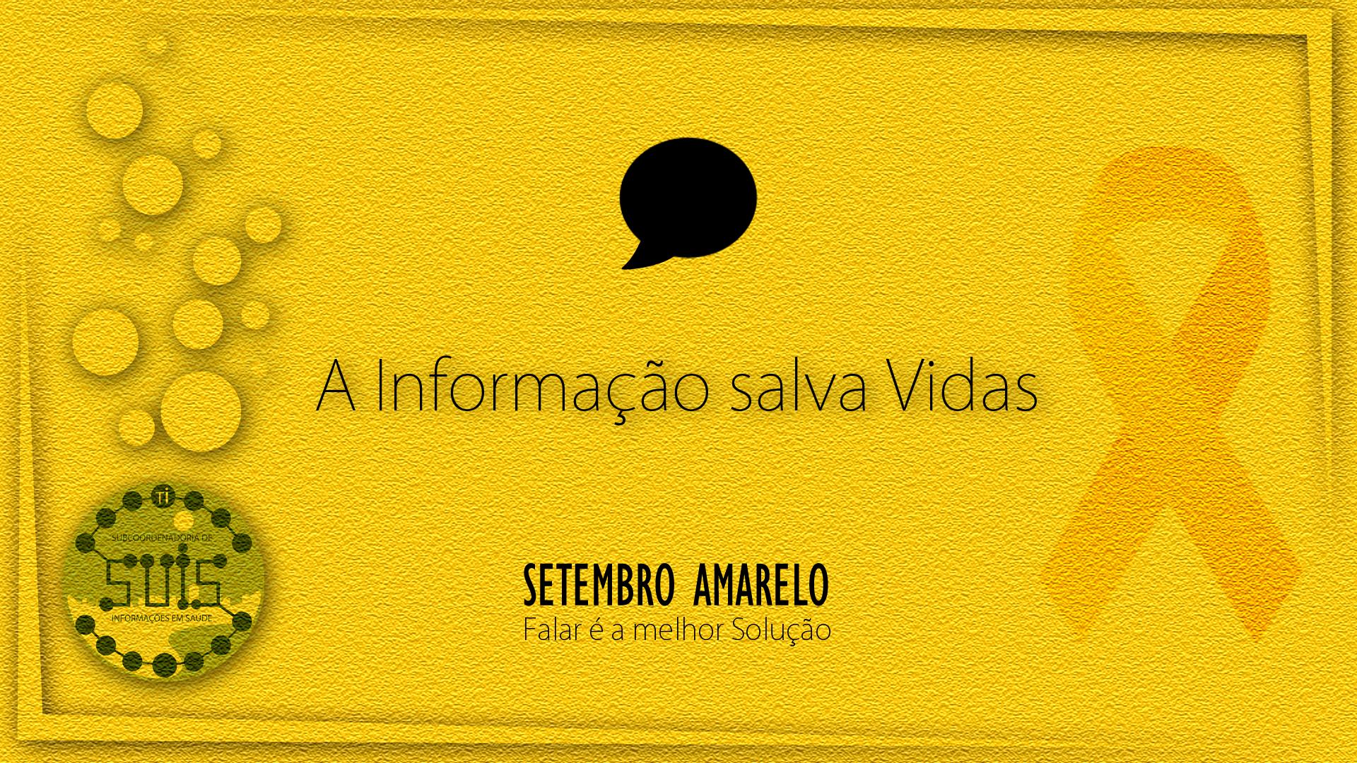 O Setembro Amarelo é uma campanha de conscientização sobre a prevenção do suicídio. No Brasil, foi criado em 2015 pelo CVV (Centro de Valorização da Vida), CFM (Conselho Federal de Medicina) e ABP (Associação Brasileira de Psiquiatria), com a proposta de associar à cor ao mês que marca o Dia Mundial de Prevenção do Suicídio (10 de setembro).  A ideia é pintar, iluminar e estampar o amarelo nas mais diversas resoluções, garantindo mais visibilidade à causa.   Ao longo dos últimos anos, escolas, universidades, entidades do setor público e privado e a população de forma geral se envolveram neste movimento que vai de norte a sul do Brasil. Monumentos como o Cristo Redentor (RJ), o Congresso Nacional e o Palácio do Itamaray (DF), o Estádio Beira Rio (RS) e o Elevador Lacerda (BA), para citar apenas alguns, e até mesmo times de futebol, como o Santos FC, Flamengo e Vitória da Bahia, participam da campanha.  Visite o Site do Movimento clicando nesta imagem.